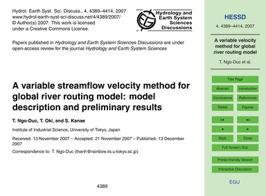A Variable Streamflow Velocity Method fo... by Ngo-duc, T.