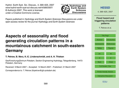 Aspects of Seasonality and Flood Generat... by Petrow, T.