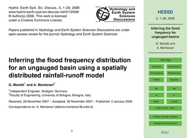 Inferring the Flood Frequency Distributi... by Moretti, G.