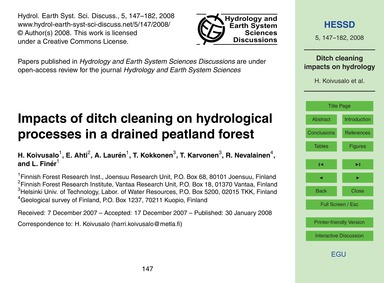 Impacts of Ditch Cleaning on Hydrologica... by Koivusalo, H.