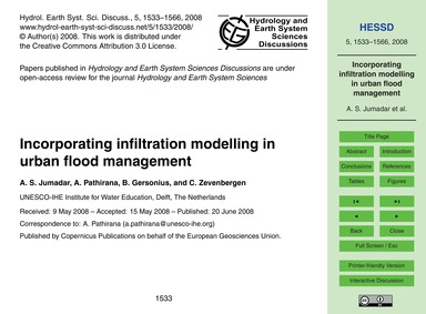 Incorporating Infiltration Modelling in ... by Jumadar, A. S.