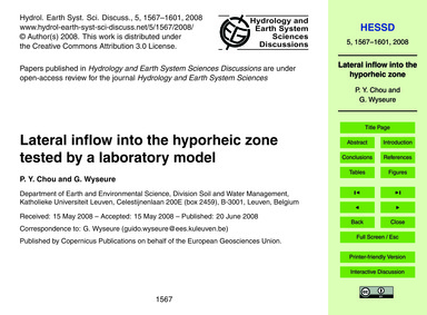 Lateral Inflow Into the Hyporheic Zone T... by Chou, P. Y.