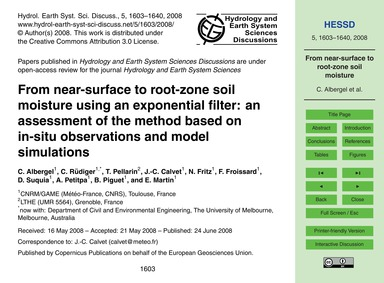 From Near-surface to Root-zone Soil Mois... by Albergel, C.