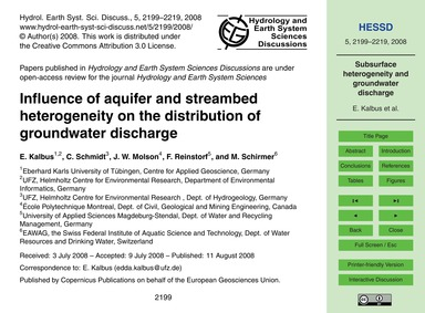 Influence of Aquifer and Streambed Heter... by Kalbus, E.
