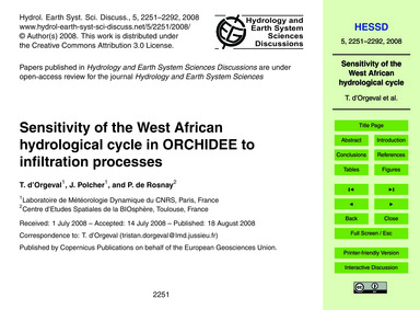 Sensitivity of the West African Hydrolog... by D'Orgeval, T.