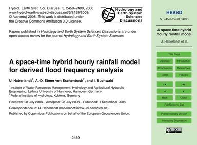 A Space-time Hybrid Hourly Rainfall Mode... by Haberlandt, U.