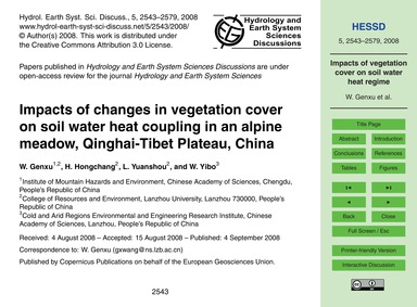 Impacts of Changes in Vegetation Cover o... by Genxu, W.
