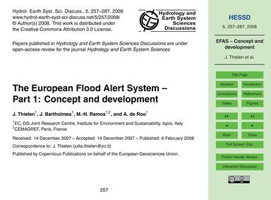 The European Flood Alert System – Part 1... by Thielen, J.