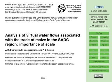 Analysis of Virtual Water Flows Associat... by Dabrowski, J. M.