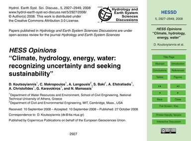 Hess Opinions Climate, Hydrology, Energy... by Koutsoyiannis, D.