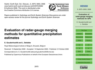 Evaluation of Radar-gauge Merging Method... by Goudenhoofdt, E.