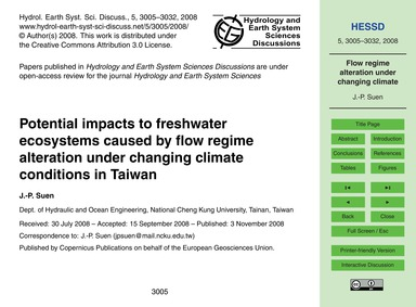 Potential Impacts to Freshwater Ecosyste... by Suen, J.-p.