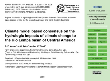 Climate Model Based Consensus on the Hyd... by Maurer, E. P.