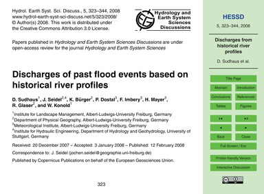 Discharges of Past Flood Events Based on... by Sudhaus, D.