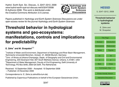 Threshold Behavior in Hydrological Syste... by Zehe, E.