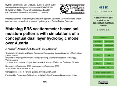 Matching Ers Scatterometer Based Soil Mo... by Parajka, J.