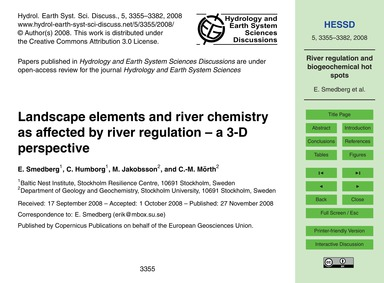 Landscape Elements and River Chemistry a... by Smedberg, E.