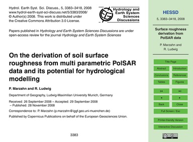 On the Derivation of Soil Surface Roughn... by Marzahn, P.