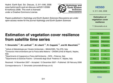 Estimation of Vegetation Cover Resilienc... by Simoniello, T.