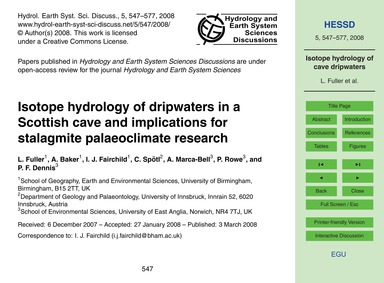 Isotope Hydrology of Dripwaters in a Sco... by Fuller, L.
