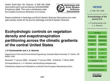 Ecohydrologic Controls on Vegetation Den... by Kochendorfer, J. P.