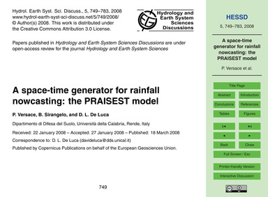 A Space-time Generator for Rainfall Nowc... by Versace, P.