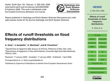 Effects of Runoff Thresholds on Flood Fr... by Gioia, A.