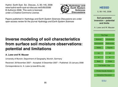 Inverse Modeling of Soil Characteristics... by Loew, A.
