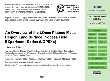 An Overview of the Loess Plateau Mesa Re... by Wen, J.