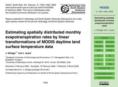 Estimating Spatially Distributed Monthly... by Szilagyi, J.