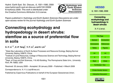 Connecting Ecohydrology and Hydropedolog... by Li, X.-y.