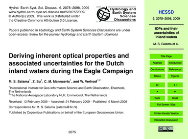 Deriving Inherent Optical Properties and... by Salama, M. S.