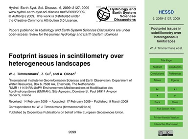 Footprint Issues in Scintillometry Over ... by Timmermans, W. J.