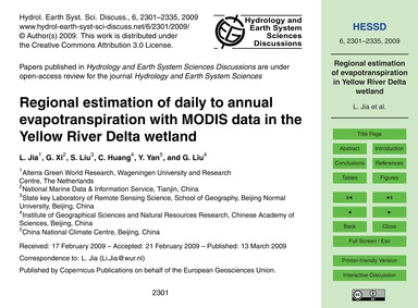 Regional Estimation of Daily to Annual E... by Jia, L.