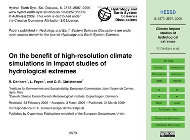 On the Benefit of High-resolution Climat... by Dankers, R.