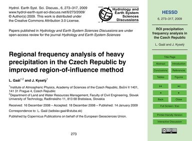 Regional Frequency Analysis of Heavy Pre... by Gaál, L.