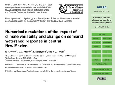 Numerical Simulations of the Impact of C... by Vivoni, E. R.