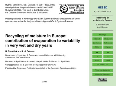 Recycling of Moisture in Europe: Contrib... by Bisselink, B.