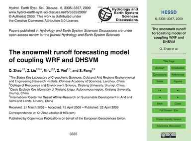 The Snowmelt Runoff Forecasting Model of... by Zhao, Q.