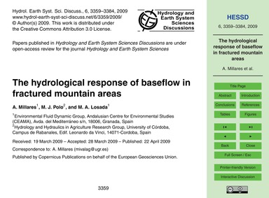 The Hydrological Response of Baseflow in... by Millares, A.