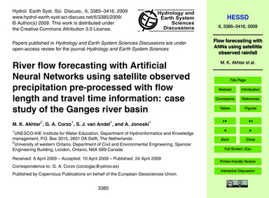 River Flow Forecasting with Artificial N... by Akhtar, M. K.