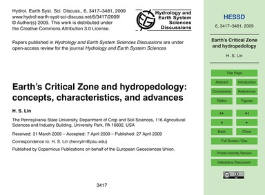 Earth's Critical Zone and Hydropedology:... by Lin, H. S.