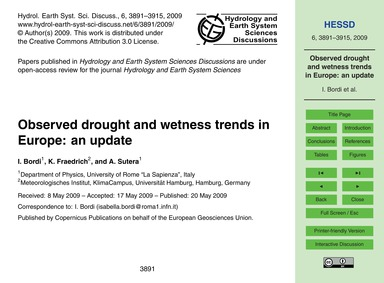Observed Drought and Wetness Trends in E... by Bordi, I.