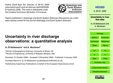 Uncertainty in River Discharge Observati... by Di Baldassarre, G.