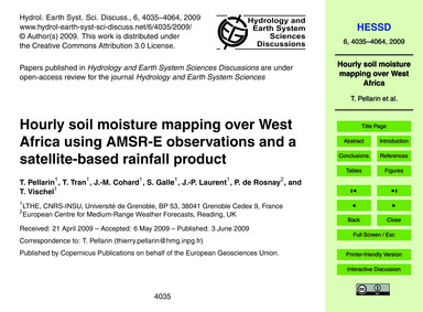 Hourly Soil Moisture Mapping Over West A... by Pellarin, T.