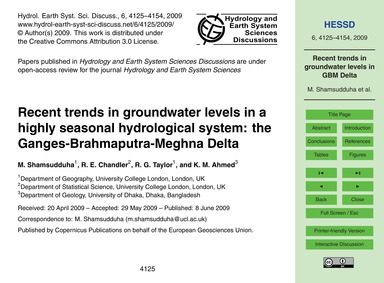 Recent Trends in Groundwater Levels in a... by Shamsudduha, M.