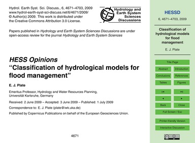 Hess Opinions Classification of Hydrolog... by Plate, E. J.