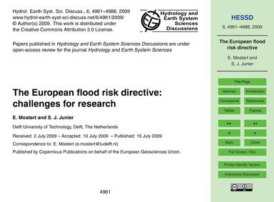 The European Flood Risk Directive: Chall... by Mostert, E.