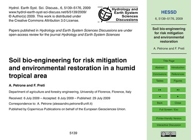 Soil Bio-engineering for Risk Mitigation... by Petrone, A.