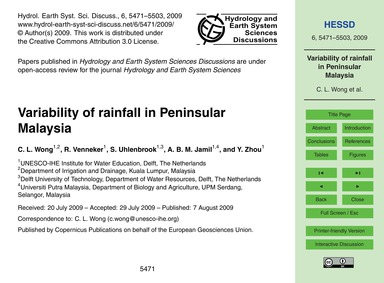 Variability of Rainfall in Peninsular Ma... by Wong, C. L.